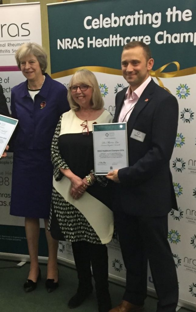 Dr Martin Lee, Theresa May, nras healthcare champion award