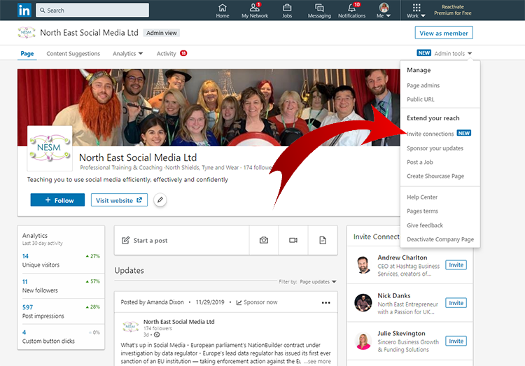 Increase LinkedIn Company Followers, Admin